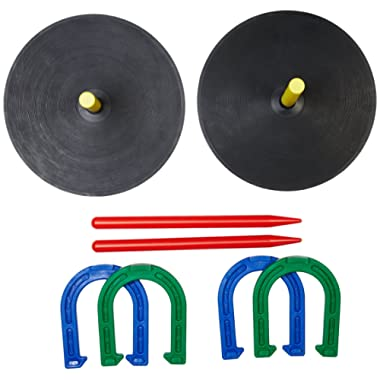 AmazonBasics Rubber Portable Horseshoe Outdoor Yard Game Set