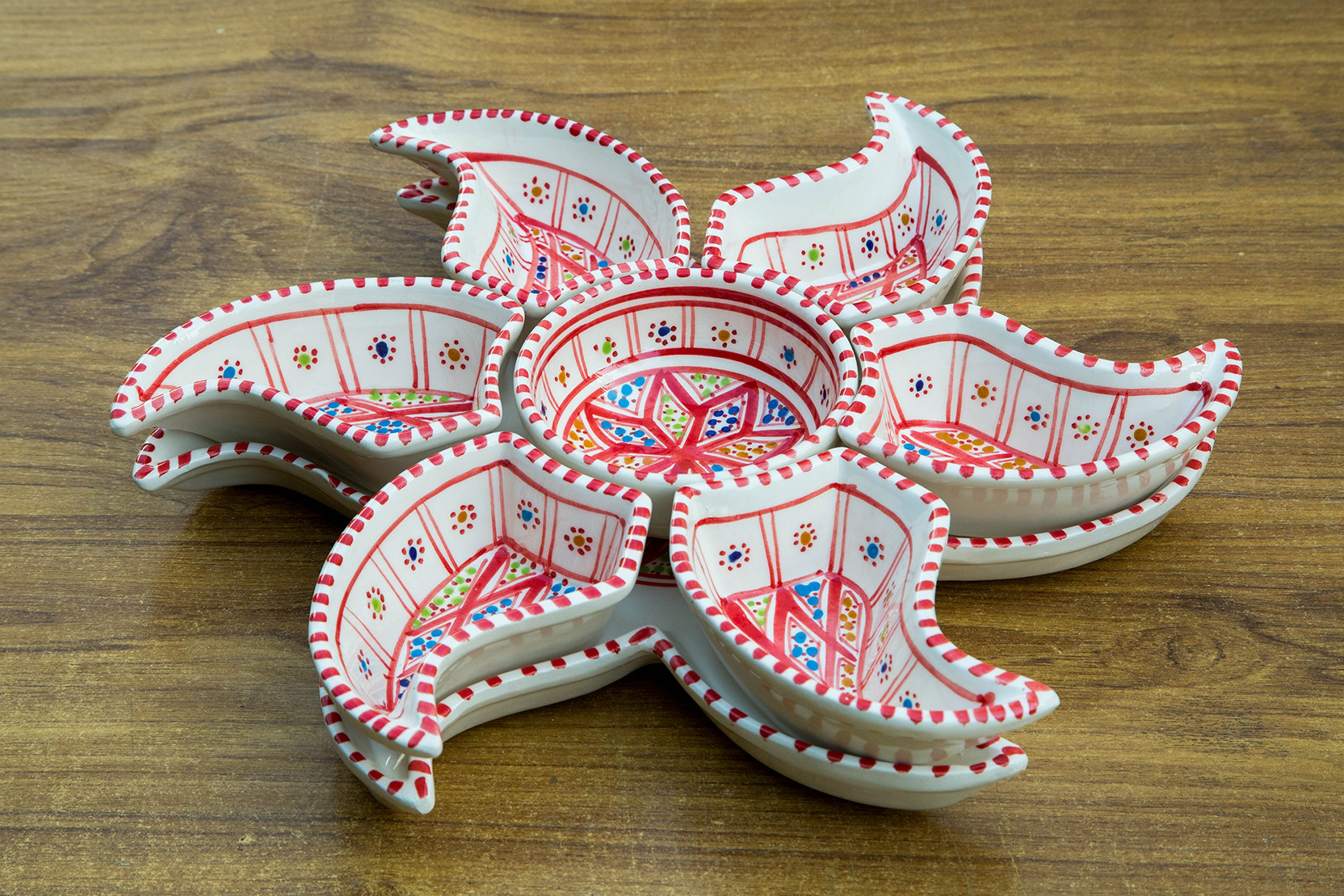 Large Red Sun Dippers, 8 Pieces of Ceramic Dipping and Serving Plates Handmade, Hand-painted - Gifts, Wedding Gifts Birthday Celebration and Housewarming Gifts