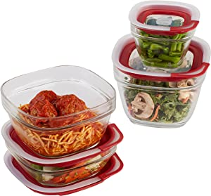 Rubbermaid 2856008 Food Container Set, Glass, 8-Piece, clear