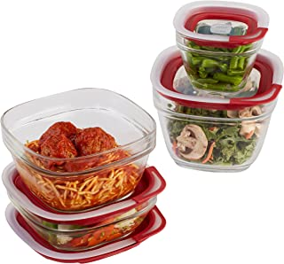 product image for Rubbermaid Easy Find Lids Glass Food Storage and Meal Prep Containers, Set of 4 (8 Pieces Total), Racer Red