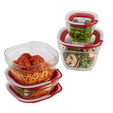 Rubbermaid Easy Find Lids Glass Food Storage Containers, Racer Red, 8-Piece Set 2856008