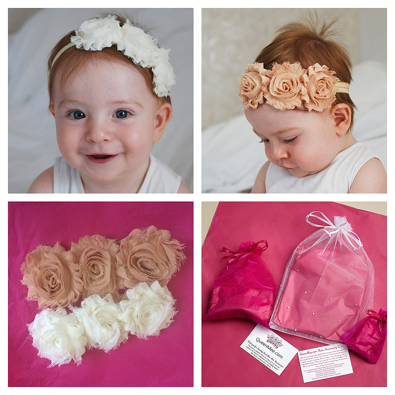 Amazon.com  QueenMee Baby Flower Headband in Ivory and Beige Floral Hair  Band Set of 2 in Giftwrap (Ivory)  Baby 8c336151bb7