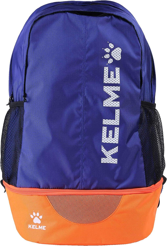 Sports Backpack - Adults, Kids – School,Soccer,Basketball - Ball Holder Pocket (Blue/Orange, Adults)