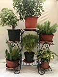Reva Decor Metal Planter Stand for 6 Pots, 34Wx12Dx32H(inches) (Black)