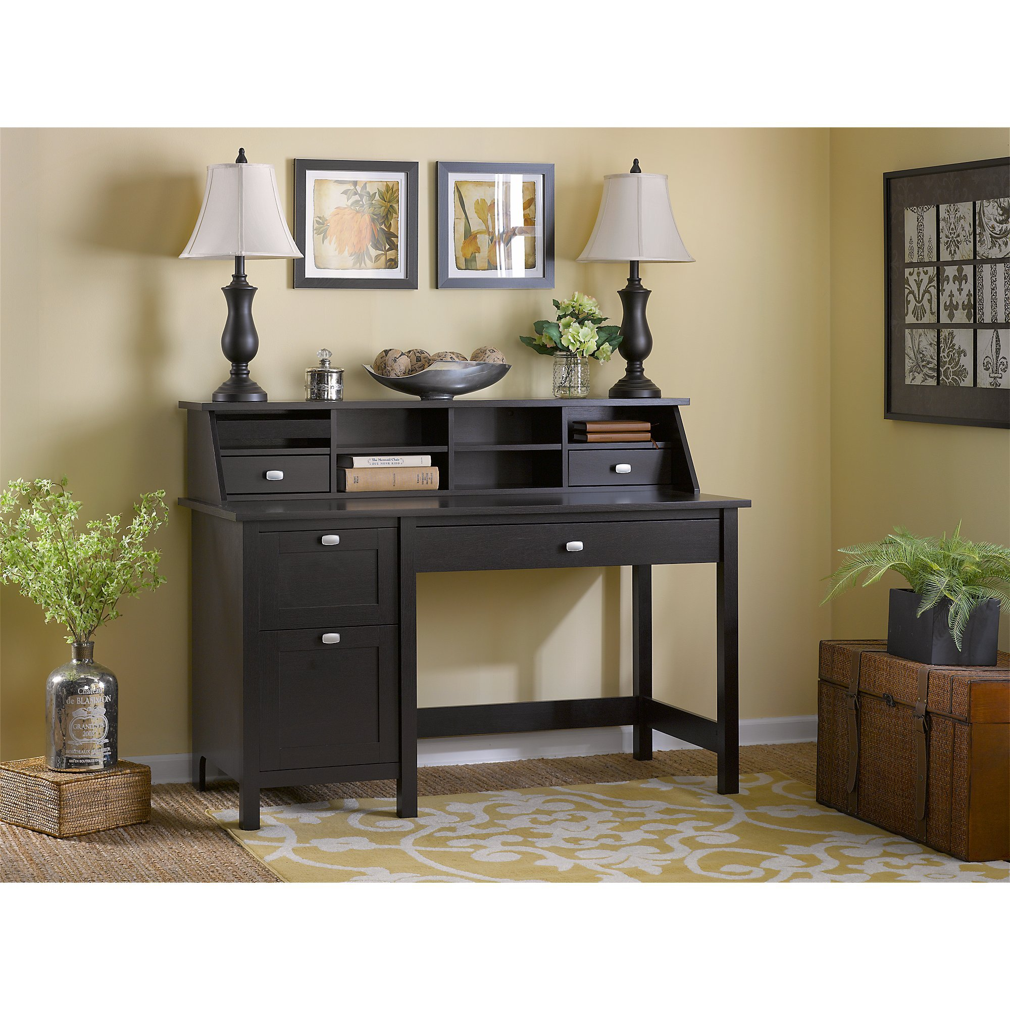 Bush Furniture Broadview Computer Desk with 2 Drawer Pedestal and Organizer