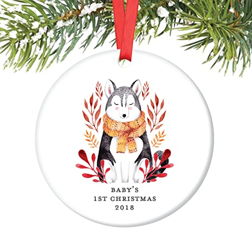 gender neutral babys first christmas ornament 2018 baby wolf ornaments husky dog boy girl