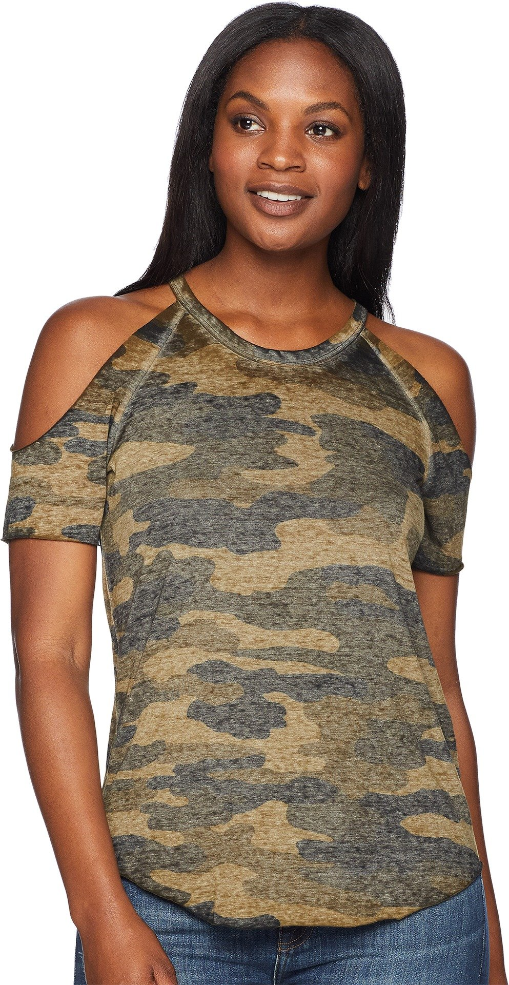 Lucky Brand Women's Camo Cold Shoulder Tee Green Multi X-Large