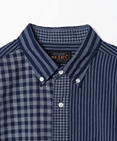 Indigo Crazy Pattern Buttondown Shirt 11-11-4013-139: Navy