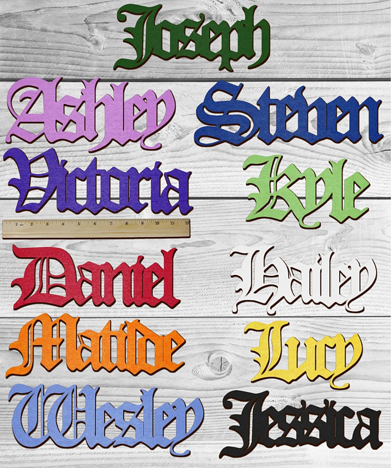 OLD ENGLISH Personalized Wooden Name Sign Custom Plaque Words / Letters  Wall Decor / Door / Laser Cut Wood Letters / Font