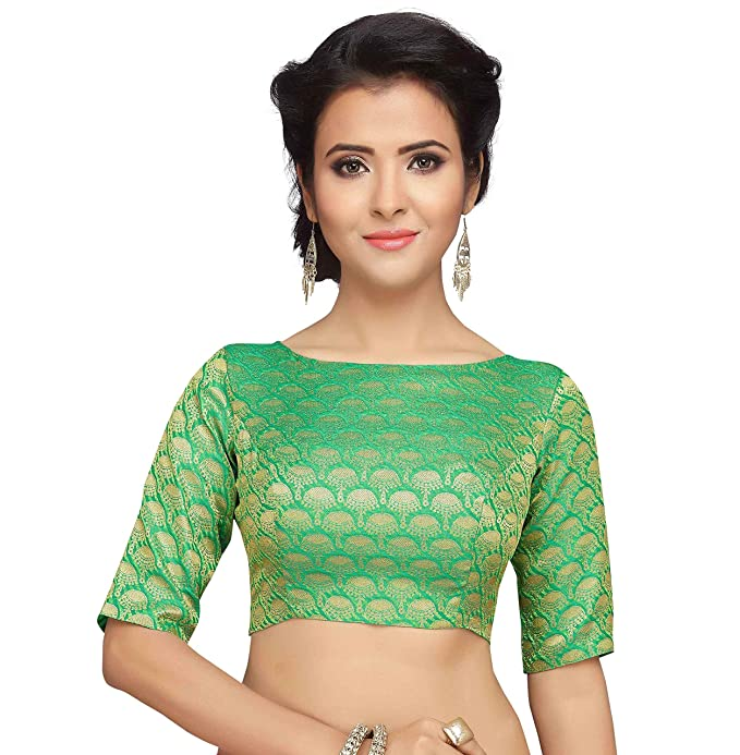 STUDIO SHRINGAAR WOMEN S BENARAS BROCADE SAREE BLOUSE WITH BOAT NECK  -JHUMKA DESIGN (34 0de9fd3a5