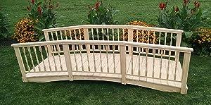 Backyard Crafts Amish-Made Weight-Bearing Pine 3' x 10' Spindle Garden Bridge, Walnut Stain