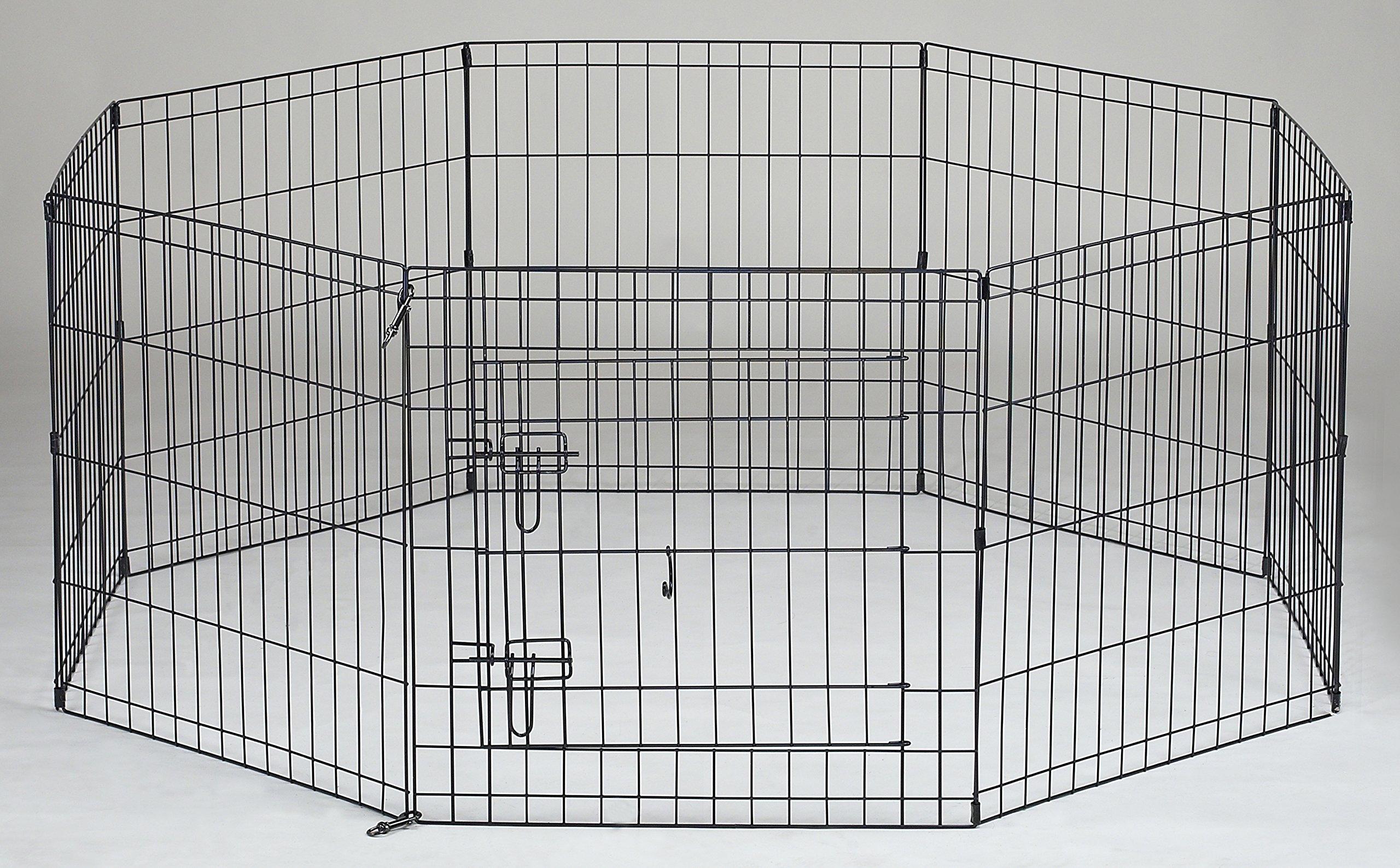 Homey Pet 24'' Folding LCk 2ft Pet Playpen with Door, Black