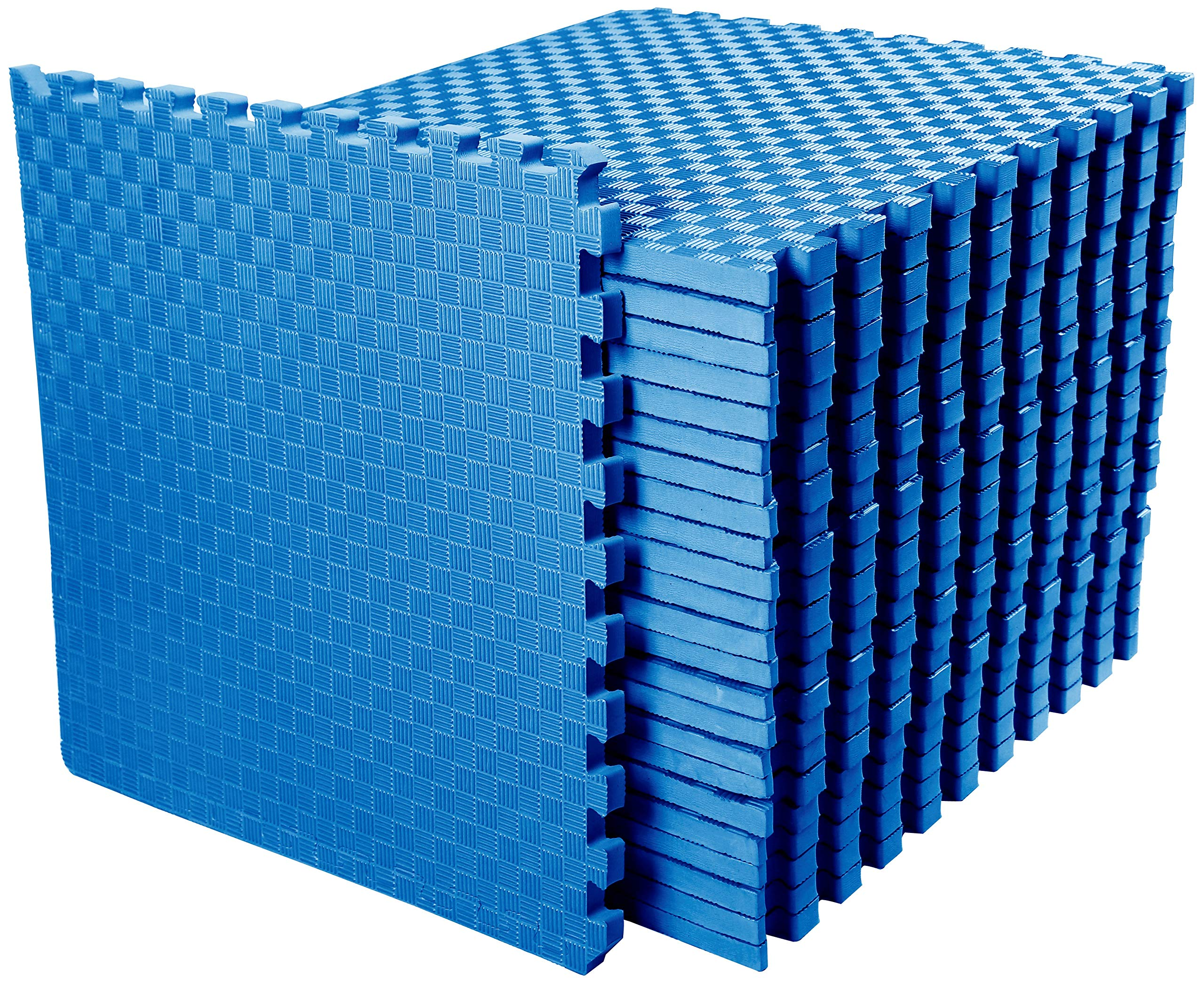 BalanceFrom 1'' Extra Thick Puzzle Exercise Mat with EVA Foam Interlocking Tiles for MMA, Exercise, Gymnastics and Home Gym Protective Flooring, 72 Square Feet (Blue)