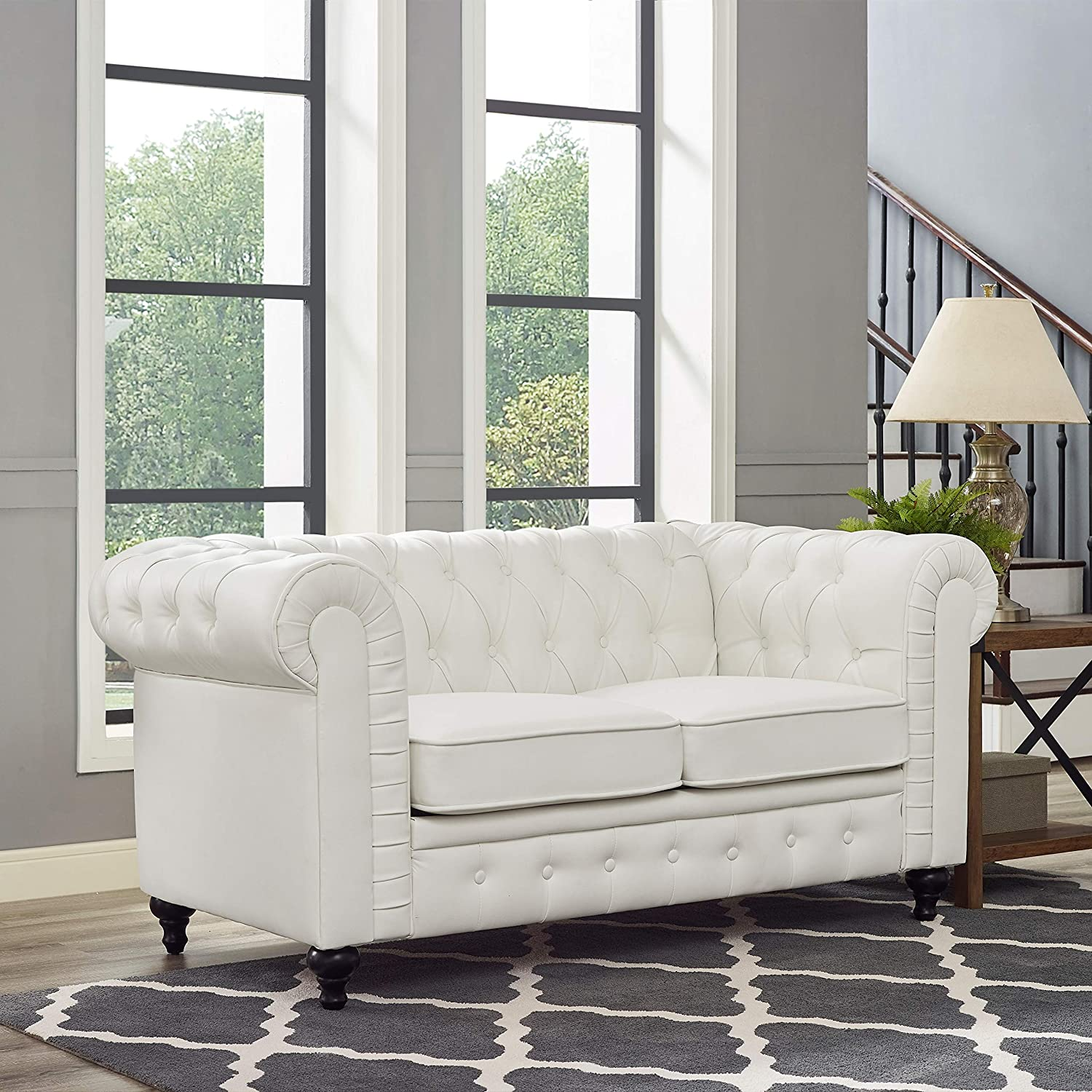 Naomi Home Emery Chesterfield Love Seat White