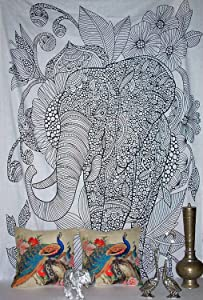 World Wide Kart Jaipuri Rajasthani Twin Hippie Indian Tapestry Elephant Bohemian Tapestries Throw Art Wall Hanging Single Bedspread Size 85x55 Inches Beach Coverlet Yoga Mat Living Room Home Decor