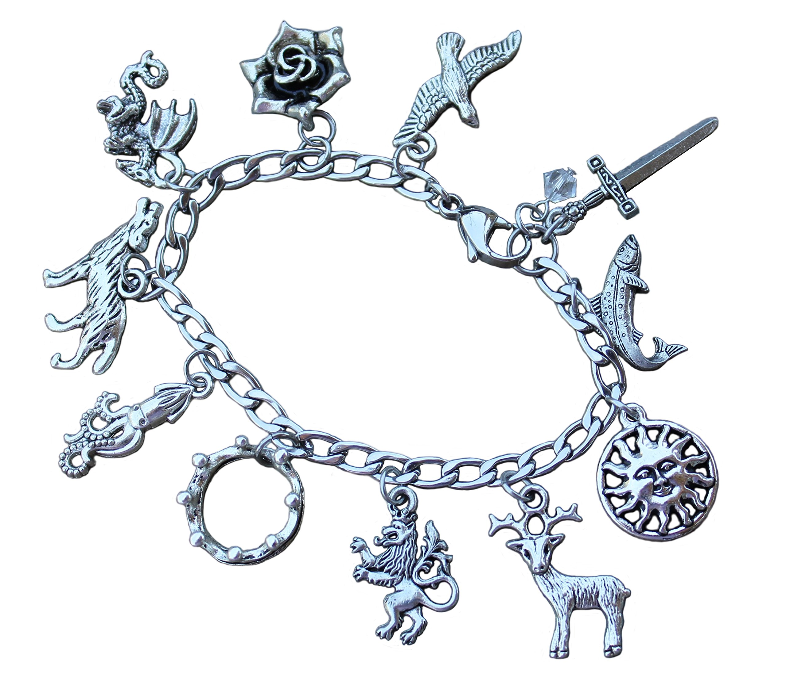 Game of Thrones Charm Bracelet Stainless Steel Chain, Pewter Charms- Fantasy Fan Jewelry - Size M (7.5 Inches (Medium))