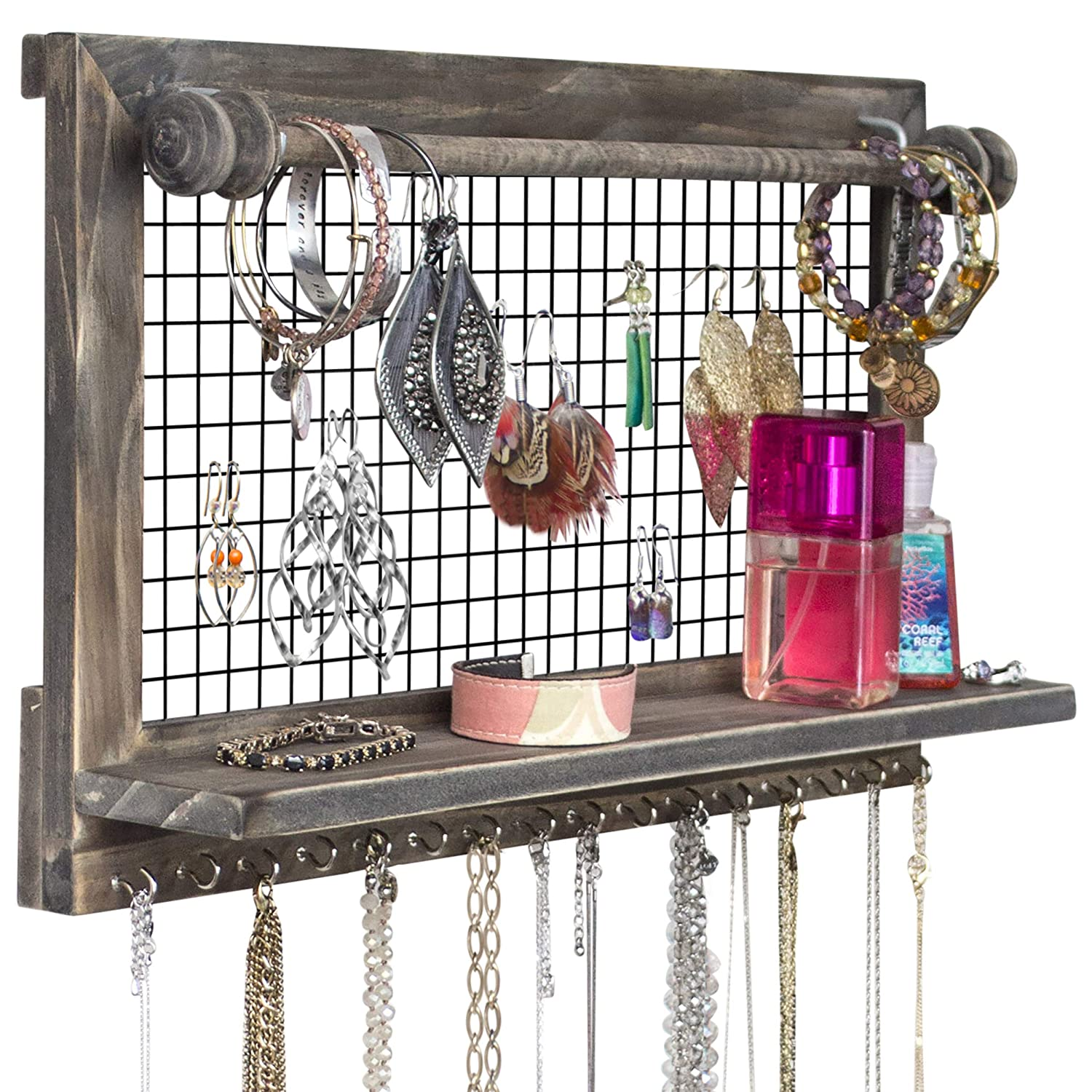 SoCal Buttercup Rustic Jewellery Organiser with Bracelet Rod Wall Mounted from Wooden Wall Mount Holder for Earrings, Necklaces, Bracelets, and Many Other Accessories …