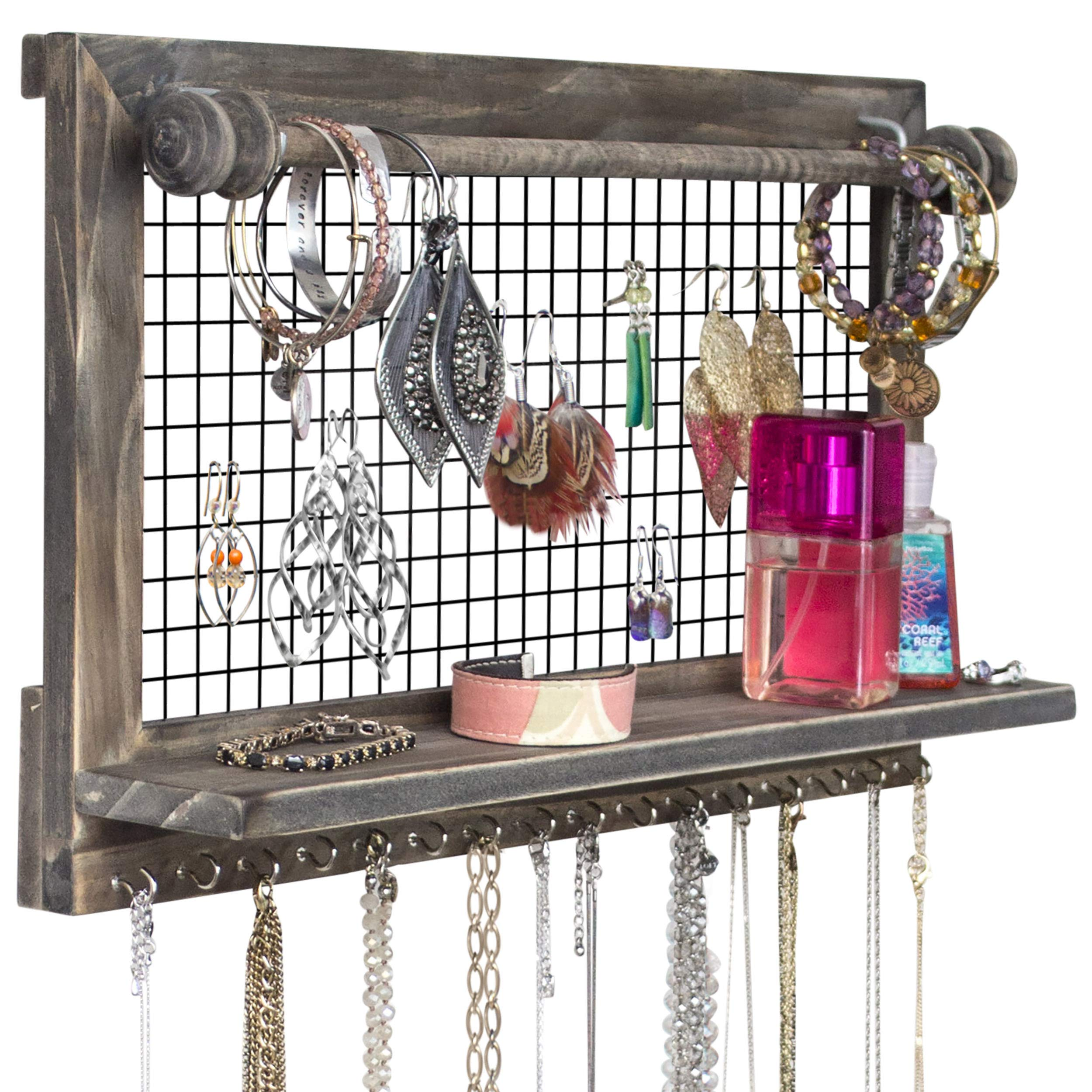 Rustic Jewelry Organizer with Bracelet Rod Wall Mounted l Wooden Wall Mount Holder for Earrings, Necklaces, Bracelets, and Many Other Accessories SoCal Buttercup by SoCal Buttercup