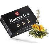 Teeblumen Geschenkset – Tee Geschenk aus 6 edlen Teerosen - Grüner Tee kunstvoll gebundenen mit Blüten von Jasmin, Calendula und Rose - Flower Tea 108