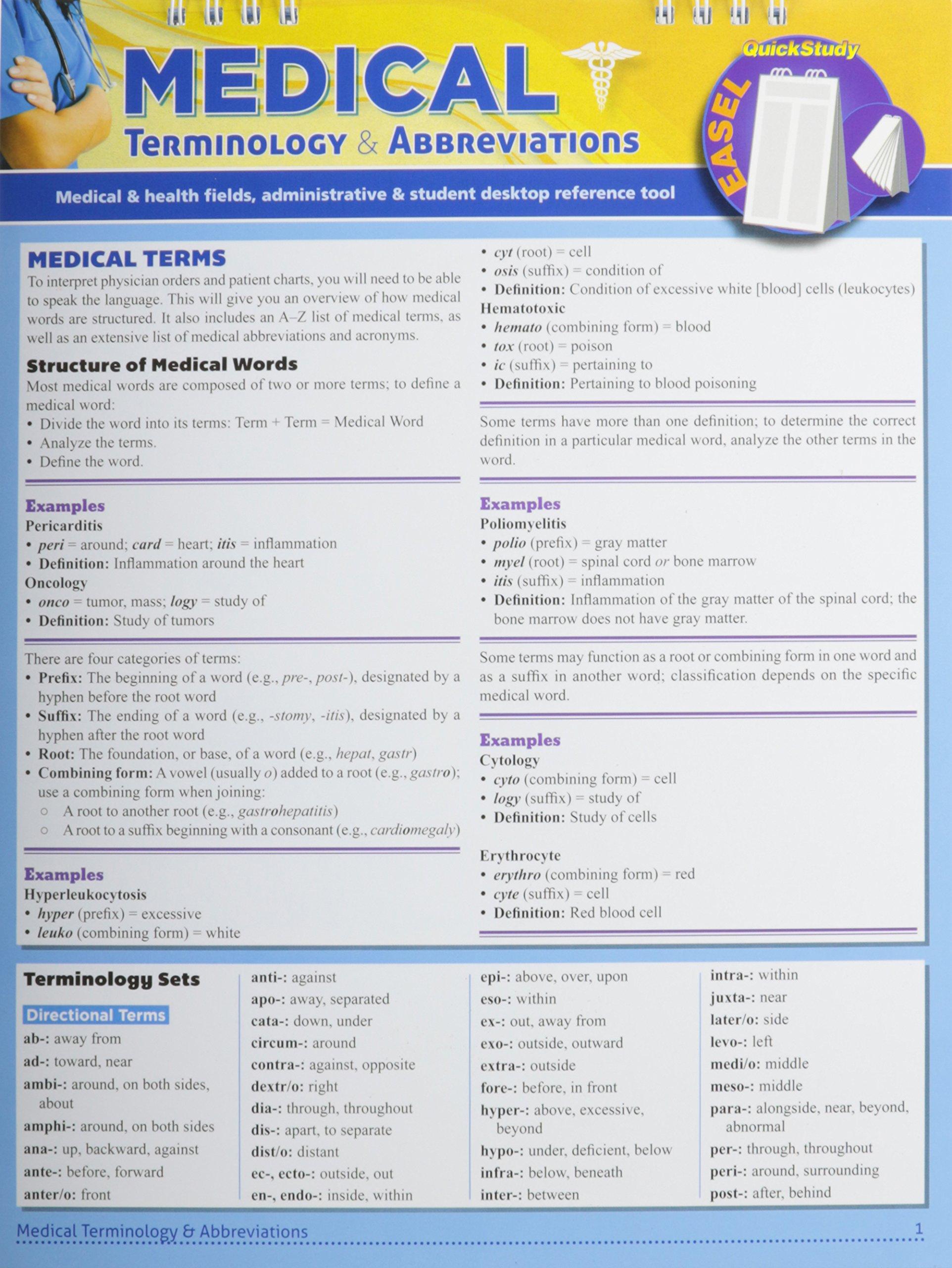 Medical abbreviation for between - Medical Terminology Abbreviations Quick Study Easel Inc Barcharts 8601423475561 Amazon Com Books