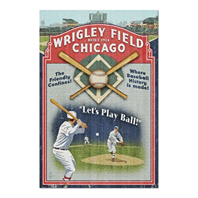 Chicago, Illinois - Wrigley Field Vintage Sign (Premium 1000 Piece Jigsaw Puzzle for Adults, 20x30, Made in USA!): Toys & Games