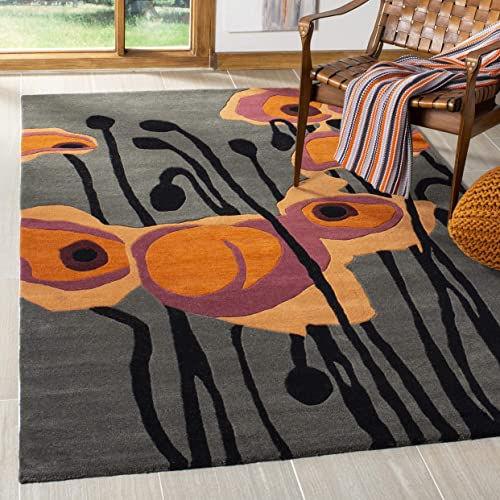 Safavieh Soho Collection SOH853B Handmade Abstract Grey and Orange Premium Wool Area Rug 3'6″ x 5'6″