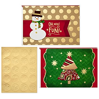 Christmas Tree Cards Designs.Hallmark Christmas Boxed Card Assortment Snowman And Christmas Tree 40 Cards With Envelopes And Gold Seals