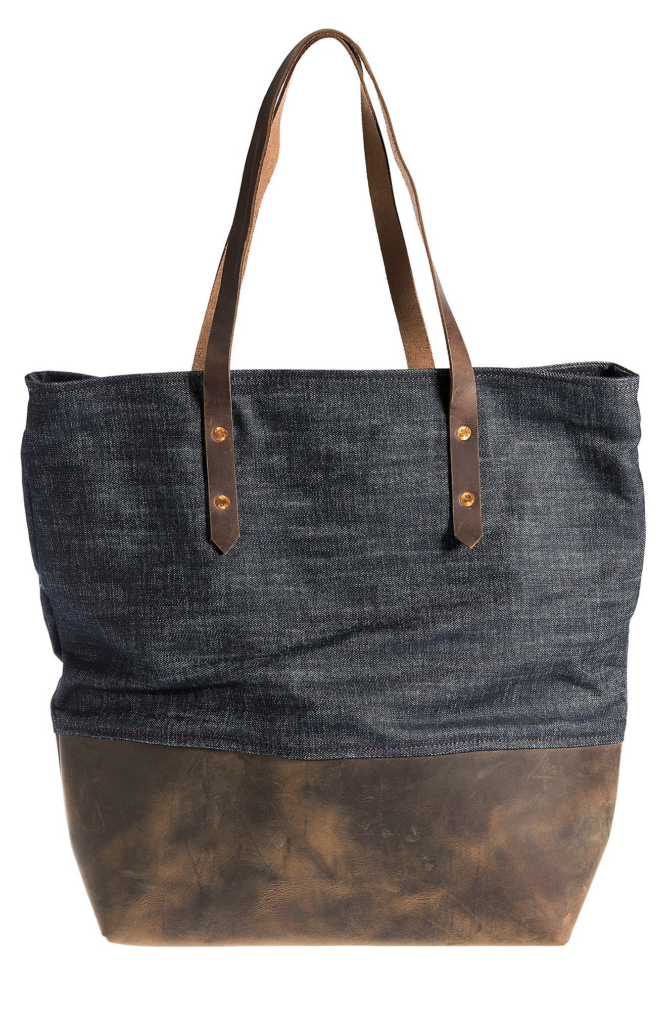 Overland Mills Denim and Leather Tote Bag