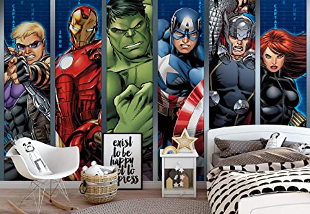 08bcf332d61 Marvel Avengers - Photo Wallpaper - Wall Mural - Giant Wall Poster - XXL -  368cm x 254cm - Standard Paper (NOT EasyInstall) - 4 Pieces: Amazon.co.uk:  ...