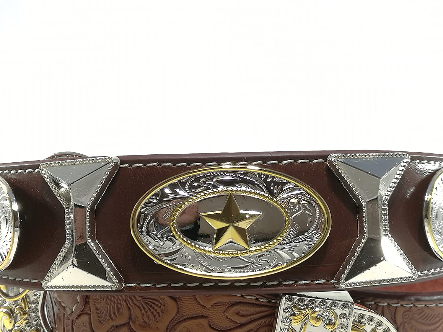 New Mens Western Cowboy Cowgirl Gold Horse Texas Star Hourglass Concho Shiny Leather Belt
