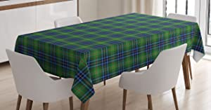 Ambesonne Plaid Tablecloth, Grunge Looking Vibrant Colored Scottish Folkloric Pattern with Cultural Retro Design, Rectangular Table Cover for Dining Room Kitchen Decor, 60