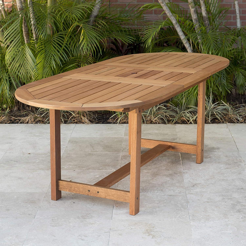 Amazon Com Amazonia Bahamas 7 Piece Oval Patio Dining Set Eucalyptus Wood Ideal For Outdoors And Indoors Black Garden Outdoor