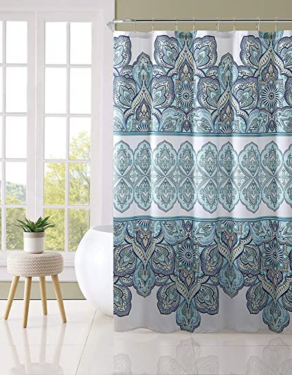Image Unavailable Not Available For Color Blue Teal Turquoise White Fabric Shower Curtain