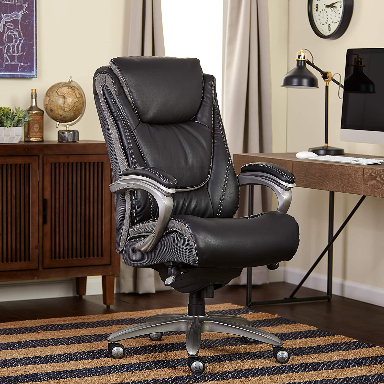 Serta Big and Tall Smart Layers Blissfully Executive Office Chair, Black
