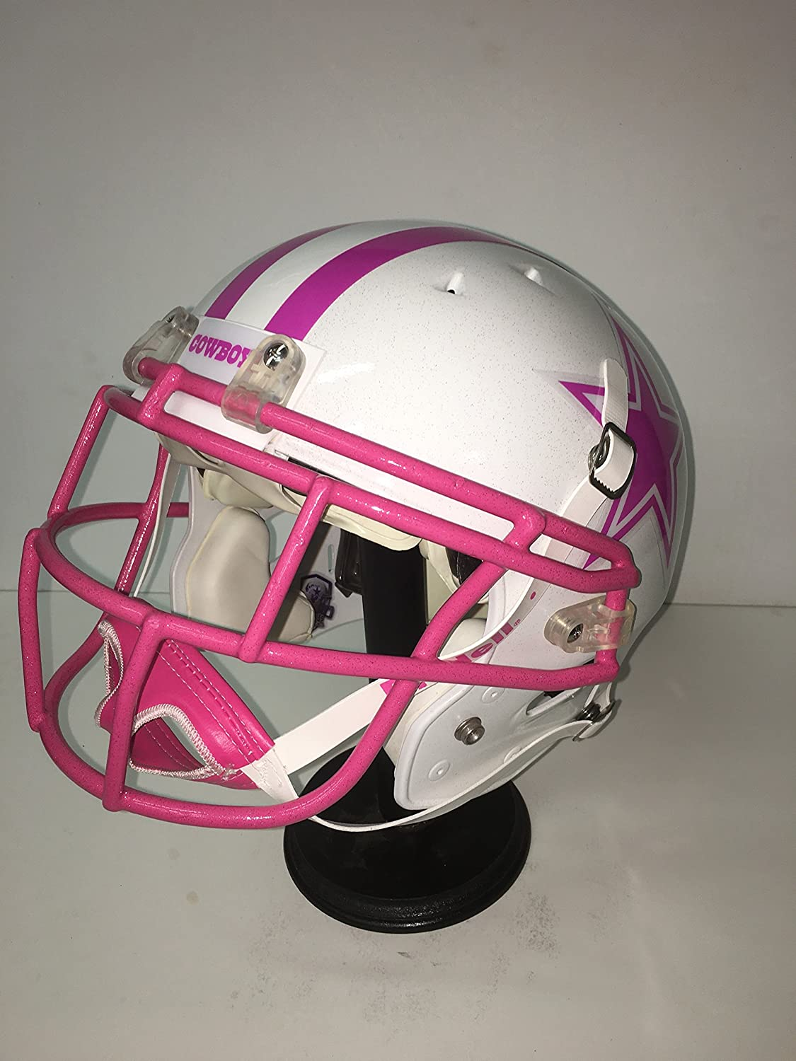 a6cf2a4d0f4 Amazon.com: Rare New Dallas Cowboys Professional, Custom Designed & Painted  White & Pink Football Helmet! Breast Cancer Awareness!: Sports Collectibles
