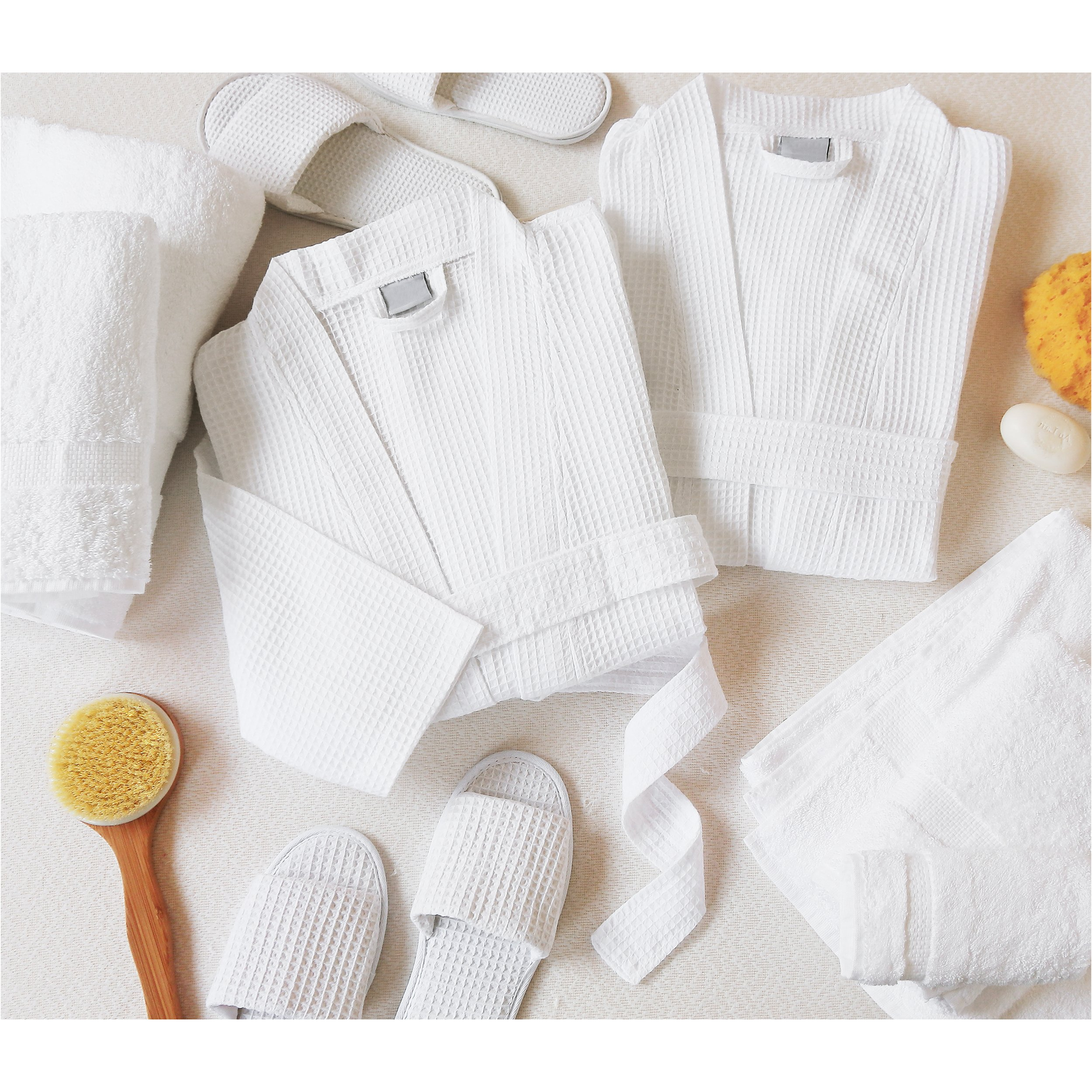 Luxor Linens Luxury 100% Cotton Giovanni Spa Set - Robe, Slippers & 3-Piece Towel Set - 2 Sets - Perfect for a Relaxing Spa Day at Home! by Luxor Linens (Image #2)