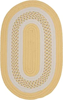 product image for Flowers Bay Oval Area Rug, 4 by 6-Feet, Yellow