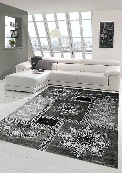 Traum Moderner Teppich Designer Teppich Orientteppich mit Glitzergarn  Wohnzimmer Teppich mit Kronleuchter Optik in Grau Schwarz Creme Größe  80x150 cm