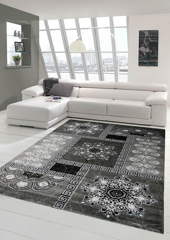Traum Moderner Teppich Designer Teppich Orientteppich mit Glitzergarn Wohnzimmer Teppich mit Kronleuchter Optik in Grau Schwarz Creme Größe 160x220 cm