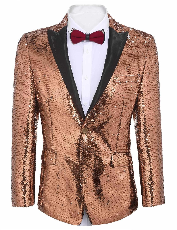 Etuoji Mens Shiny Sequins Suit Jacket Blazer Tuxedo for Party,Banquet,Nightclub