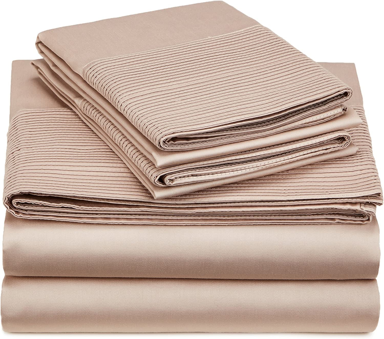 Pinzon 400-Thread-Count Egyptian Cotton Sateen Pleated Hem Sheet Set - Cal King, Mocha