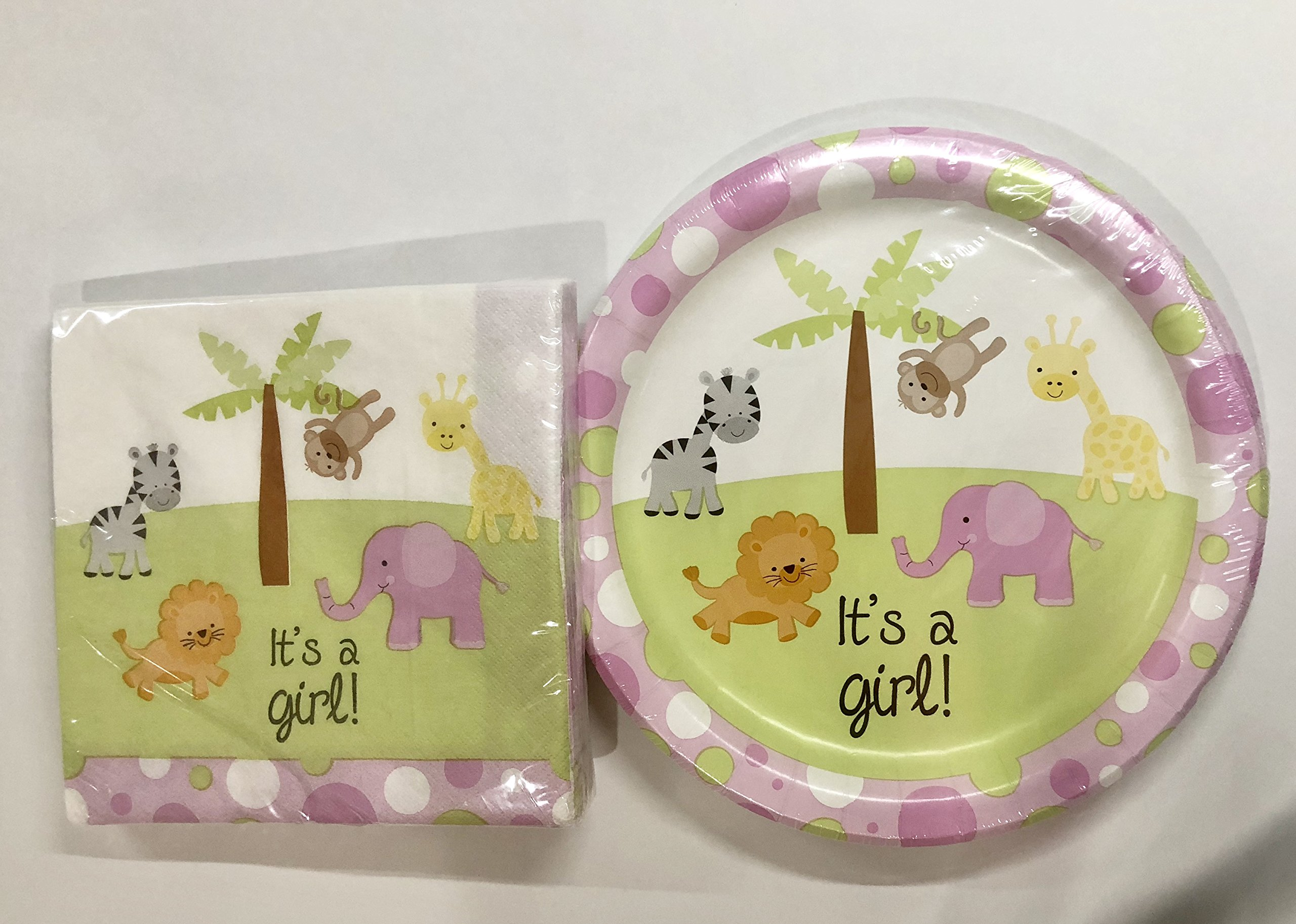Greenbrier Baby Shower Plates and Napkins - 18CT - It's a Girl