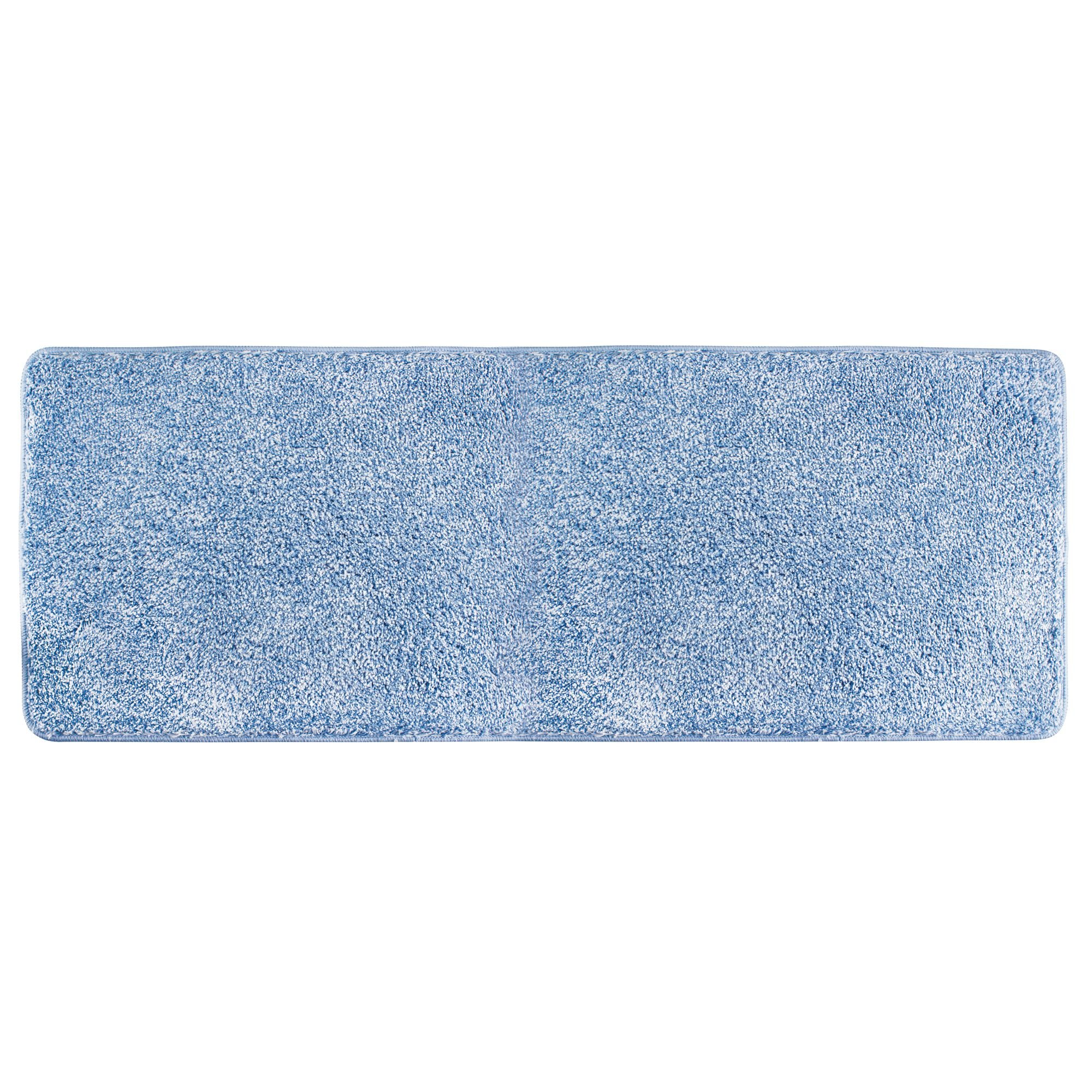 mDesign Soft Microfiber Polyester Non-Slip Extra-Long Spa Mat/Runner, Plush Water Absorbent Accent Rug for Bathroom Vanity, Bathtub/Shower, Machine Washable - 60'' x 21'' - Heathered Light Blue