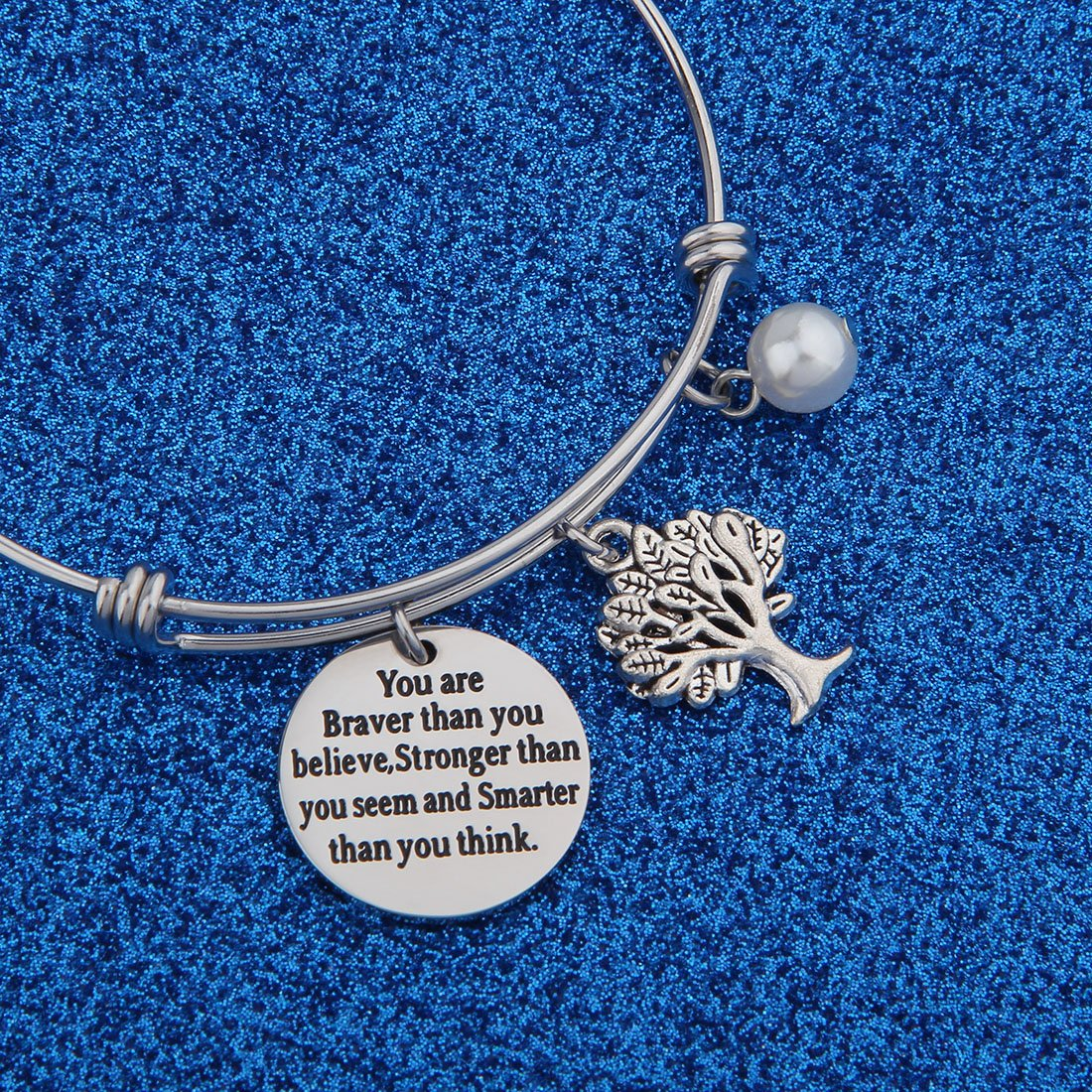 WUSUANED Inspirational Bracelet//Keychain Always Remember You are Braver//Stronger//Smarter Than You Believe//Seem//Think