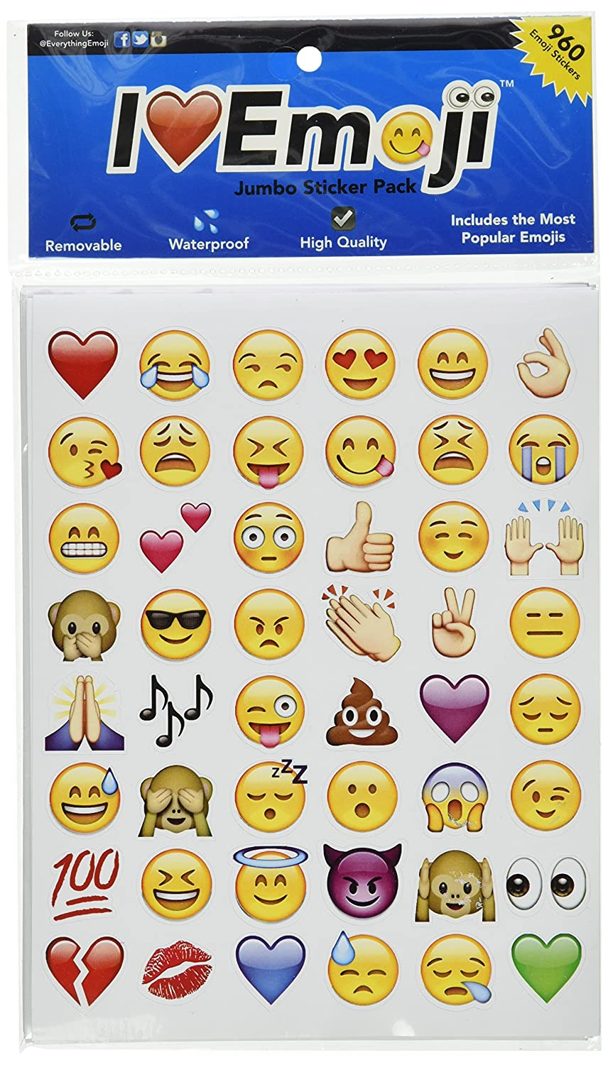 Amazon com emoji jumbo stickers 960 most popular emoticons larger in size cool educational and fun toys games
