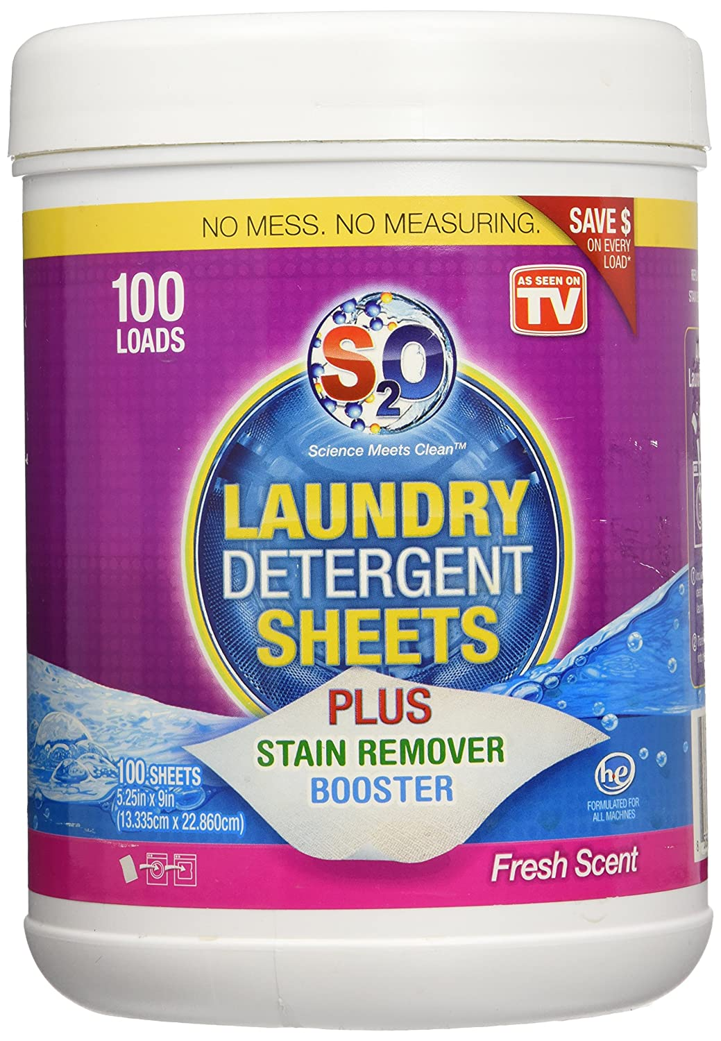 S2o laundry detergent sheets plus stain remover booster fresh scent 100 loads ebay - Wash white sheets keep fresh ...