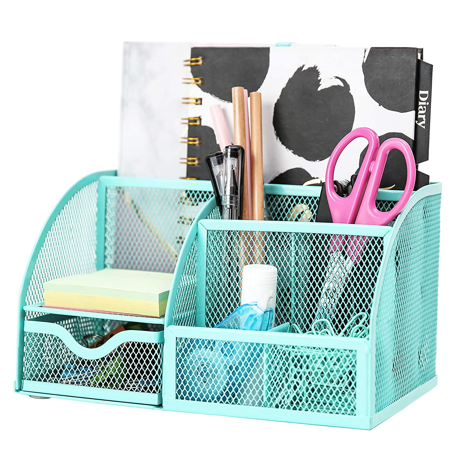 Exerz Mesh Desk Organizer Office with 6 Compartments + Drawer/Desk Tidy Candy/Pen Holder/Multifunctional Organizer EX348 Turquoise/Teal Color