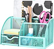 Exerz Mesh Desk Organizer Office with 6 Compartments + Drawer/Desk Tidy Candy/Pen Holder/Multifunctional Organizer EX348 Tur