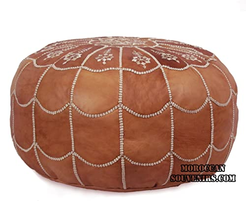 Stuffed Moroccan Pouf, Pouffe, Ottoman, Poof, Color Dark Tan