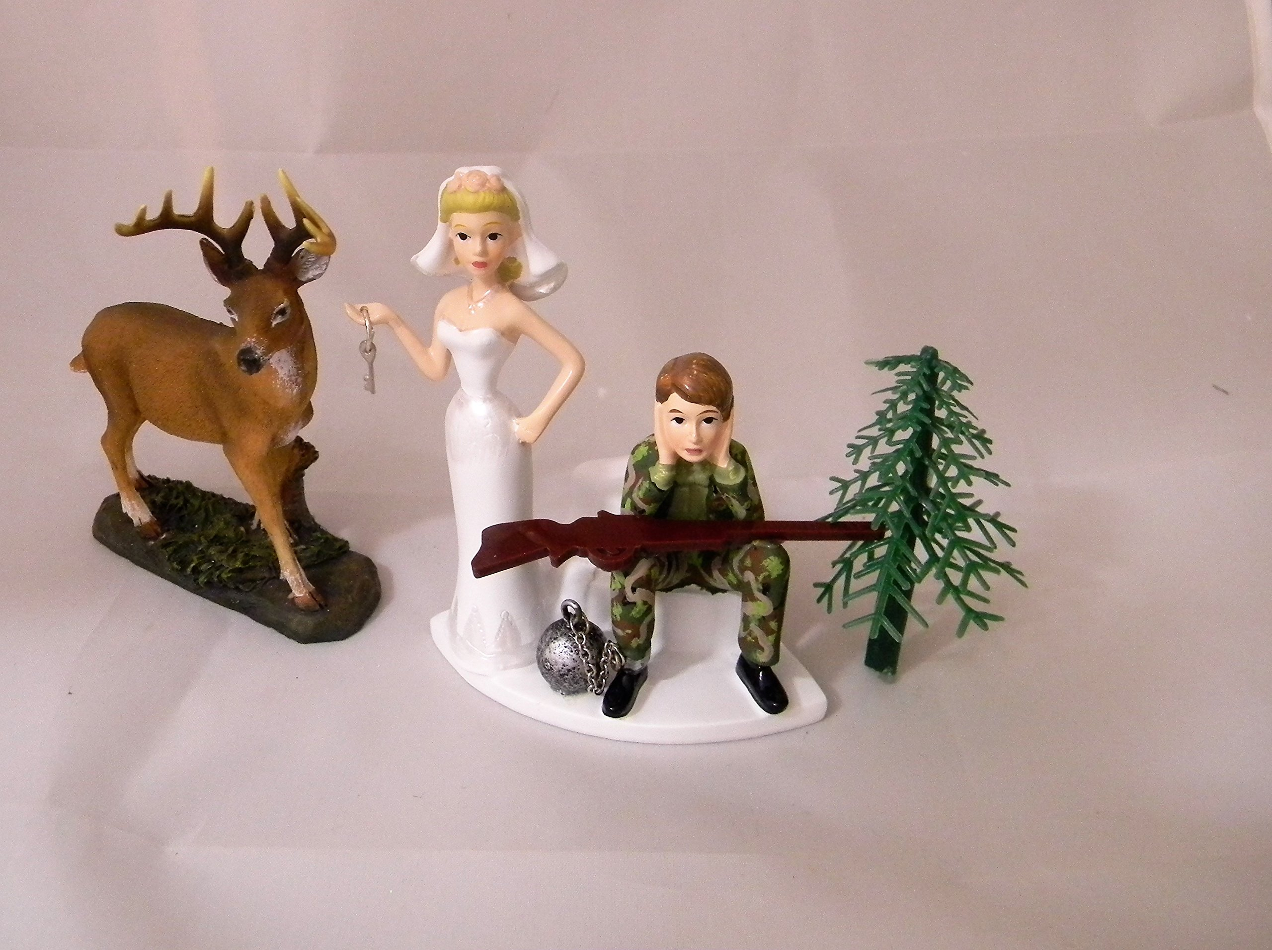 Wedding Party Reception ~Ball & Chain~ Camo Deer Hunter Hunting Cake Topper